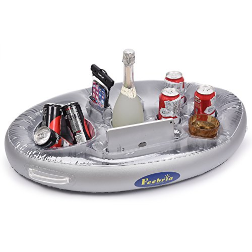 FEEBRIA Inflatable Floating Drink Holder with 9 Holes Large Capacity & Transparent Material, ...