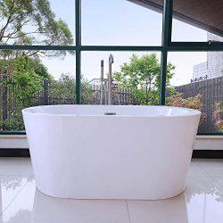 Woodbridge BTA0088 Acrylic Freestanding Bathtub Contemporary Soaking Tub with Brushed Nickel Ove ...