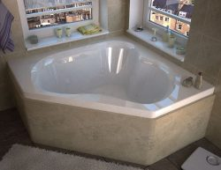 Atlantis Whirlpools 6060CWR Cascade 60 x 60 Corner Whirlpool Jetted Bathtub