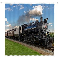Lileihao Retro Steam Train Shower Curtains Bathroom Decor Party Background Waterproof Polyester  ...