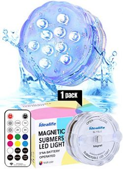 Idealife Magnetic Submersible LED Light- Remote Controlled AA Battery Operated WRGB Colorful Wat ...
