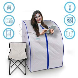 SereneLife SLISAU20SL Oversize Portable Infrared Home Spa | One Person Sauna | with Heating Foot ...