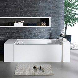 Woodbridge BTA1520-L 60″ Acrylic Freestanding Bathtub Contemporary Soaking Tub with Chrome ...