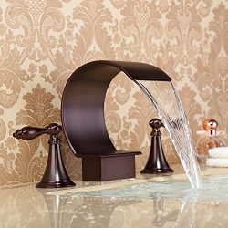 High Arc Oil-rubbed Bronze Bathtub Faucet Deck Mounted Waterfall Spout Tub Filler Faucet Two Han ...