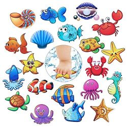 GezyUS Bathtub Stickers Non-Slip,20 Pcs Baby Shower Stickers, Anti Slip Ocean Creature Bath Deca ...