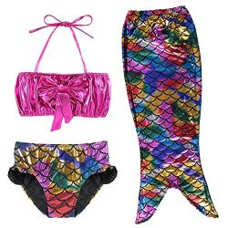 TFJH E 3PCS Kids Bathing Suit Swimsuits for Girls Fish Tail Set Colorful 130