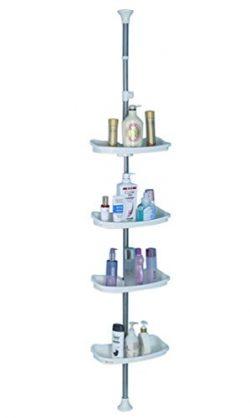 Baoyouni Bathroom Tension Pole Corner Shower Caddy, Telescopic Shower Storage Rack Organizer, 4  ...
