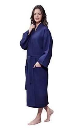 Turquaz Linen Lightweight Long Waffle Kimono Unisex Spa Robe (XXL, Navy Blue)