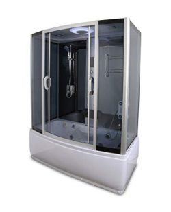 Kokss Y9007 Rectangle Steam Shower with Whirlpool Tub Enclosure, Jets, Rainfall Shower Head, Han ...