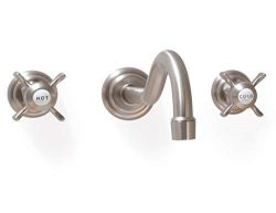 SITGES Wall Faucet,Two Handle Bathroom Sink Wall Mount Faucet with Rough in Valve included,Brush ...