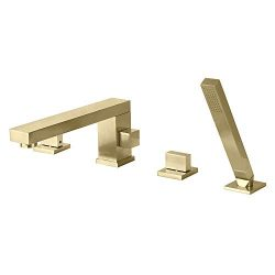 Turs Solid Brass Bathroom Tub Faucet With Single Handle Square Widespread Bathtub Mixer With Han ...