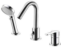 Bathtub Filler Faucet, 3-Hole Deck-Mount Waterfall Bathroom Bathtub Mixer Faucet with Hand Showe ...