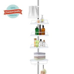 YEETE HOME Constant Tension Corner Shower Caddy Pole, Rustproof Stainless Steel, 4 Adjustable Sh ...