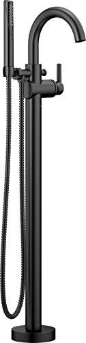 Delta Faucet Trinsic Floor-Mount Freestanding Tub Filler with Hand Held Shower, Matte Black T475 ...
