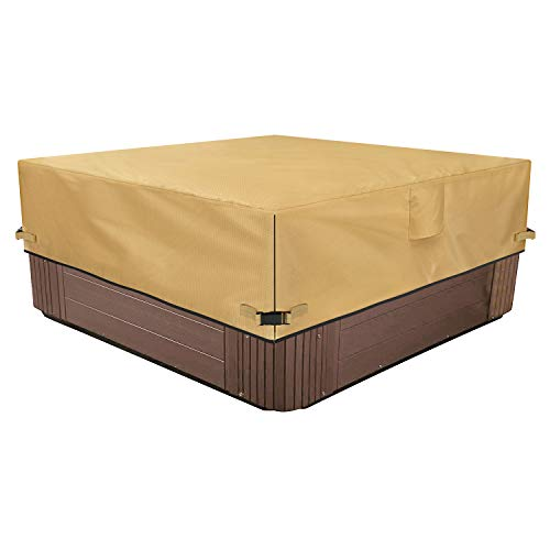 Sunkorto Square Hot Tub Cover, Waterproof Outdoor SPA Cover 600D Oxford Cloth and PVC Coating Ha ...