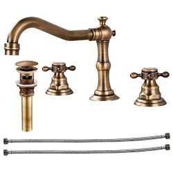 Widespread Bathtub Faucet Double Handle Mixer Tap for Bathroom Brushed Gold Antique Brass Three  ...