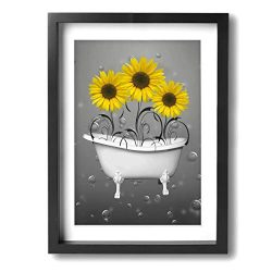 Coolertaste Yellow Grey Sunflowers In Bathtub Bubbles Canvas Wall Art Prints Picture Modern Prin ...