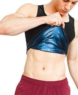 Sweat Shaper Men's Premium Workout Tank Top Slimming Polymer Sauna Vest for Weight Loss Tu ...