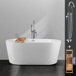 FerdY 59″ Acrylic Freestanding Bathtub, with Chrome Coating Floor-Mount Freestanding Tub F ...