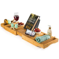 Luxury Bamboo Bathtub Tray Caddy – Expandable and Nonslip Bath Caddy with Book/Tablet and  ...