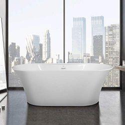 FerdY 67″ Freestanding Bathtub New Freestanding Soaking Bathtub, Glossy White, cUPC Certif ...