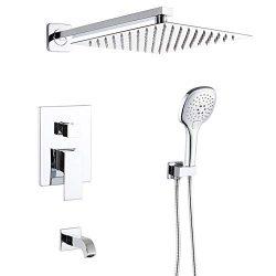 POP Bathtub Shower Faucet Set Chrome 10 Inch Bathroom Rain Mixer Shower System with Tub Spout Sh ...