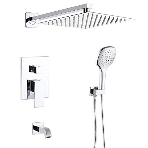 POP Bathtub Shower Faucet Set Chrome 10 Inch Bathroom Rain Mixer Shower System with Tub Spout Sh ...