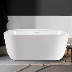 FerdY Freestanding Bathtub 55″ Small & One Side Wide Ledge, Oval Shape Freestanding So ...