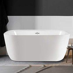 FerdY Freestanding Bathtub 55″ Small & One Side Wide Ledge, Oval Shape Freestanding So ...
