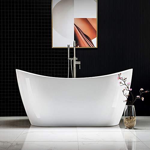 Woodbridge 59″ Acrylic Freestanding Bathtub Contemporary Soaking Tub with Brushed Nickel O ...