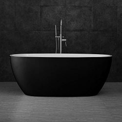 Woodbridge B-1818 59″ Acrylic Freestanding Bathtub Contemporary Soaking Tub with Brushed N ...