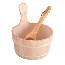 Sauna Wooden Bucket And Ladle Kit Steaming Accessories 4L Bathroom Equipment