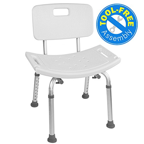 Vaunn Medical Tool-Free Assembly Spa Bathtub Adjustable Shower Chair Seat Bench with Removable Back