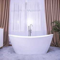 Empava Freestanding Bathtub Acrylic Soaking SPA Tub with Brushed Nickel Overflow and Drain, 67 I ...