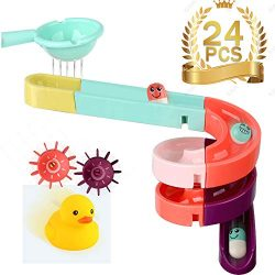 Bath Toys,Bathtub Toys,DIY Pipe Blockcs Assemly Set Tub Toys Mini Water Slide with Track Balls a ...