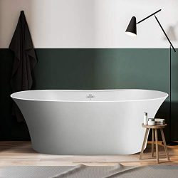 FerdY 67″Freestanding Bathtub Matte Acrylic Luxury Freestanding Soaking tub, Honed White w ...