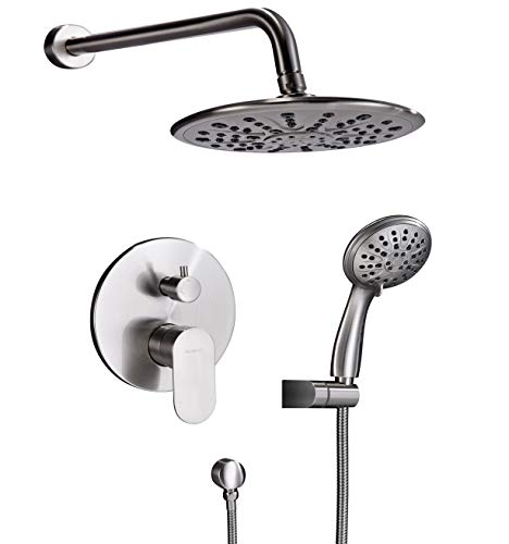 Shower System, Wall Mounted Shower Faucet Set for Bathroom with High Pressure 8″ Rain Show ...