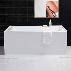Woodbridge Alcove Drop-in Tub with Apron Acrylic Bathtub Hand Drain & Overflow, Drain Hole o ...