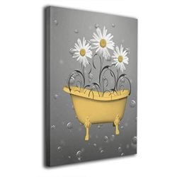 Art-logo White Daisy Flowers Yellow Bathtub Bubbles Powder Room Shower Decor Comtemporary Wall A ...
