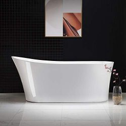 Woodbridge B-0083/BTA-0083 B/N Acrylic Freestanding Bathtub Contemporary Soaking Tub with Brushe ...