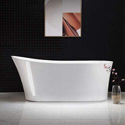 Woodbridge B-0083/BTA-0083 B/N Acrylic Freestanding Bathtub Contemporary Soaking Tub with Brushe ...
