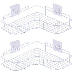 AnnBay 2-Pack Corner Shower Caddy, Stainless Steel Wall Mounted Storage Organizer Racks for Show ...