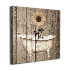 Colla Canvas Print 12″x12″ Brown Purple Rustic Sunflower Butterflies Bathtub Vintage ...