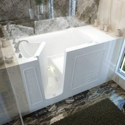 Meditub 3060WILWD 30×60 Left Drain White Whirlpool & Air Jetted Walk-In Bathtub
