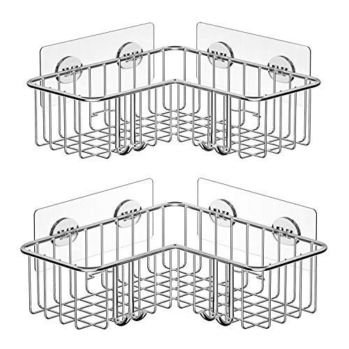 SMARTAKE 2-Pack Corner Shower Caddy, Adhesive Bath Shelf with Hooks, SUS304 Stainless Steel Stor ...