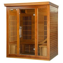 Heat Wave Elite 3 Person Sauna FAR Infrared Red Cedar Wood 9 Carbon Heaters 2140 Watt 20 amp Blu ...