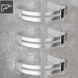 Homde Shower Corner Shelf 3 Pack No Drilling Shower Caddy Corner Storage Holder Aluminum Rack wi ...