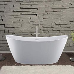 Empava Acrylic Freestanding Bathtub 59 inch Contemporary Stand Alone Deep Soaking Tubs with Over ...
