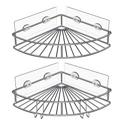 Carry360 Corner Shower Caddy with 2 Hooks (No Drilling), 2 Pack Wall Mounted Adhesive Bathroom S ...