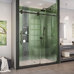 DreamLine Enigma-XO 56-60 in. W x 76 in. H Fully Frameless Sliding Shower Door in Oil Rubbed Bro ...